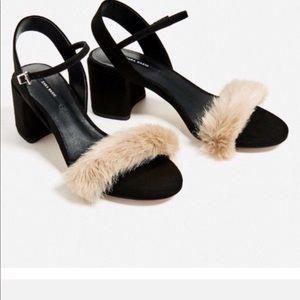 Zara faux fur block heel